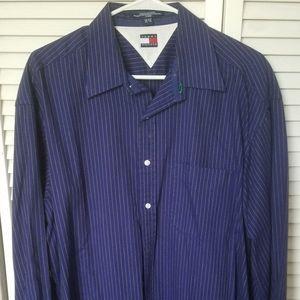 Blue long sleeve button up dress shirt